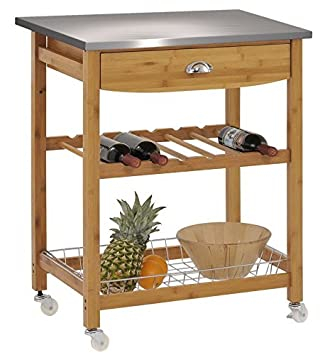Superb NEW Rolling Kitchen Cart Stainless Steel Top Bamboo Island Trolley Wine Rack