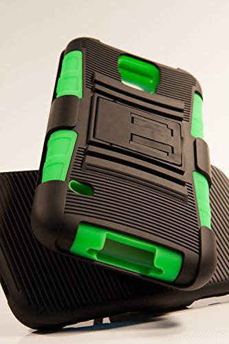 Shockwize (Tm) Stealth Series Samsung Galaxy S5 Black Shell Holster Armor Protector Cover Case Tri-Layer Shock Absorbing Rigid Hybrid Dual Kickstand With Locking Swivel Belt Clip (All Providers) (Green)