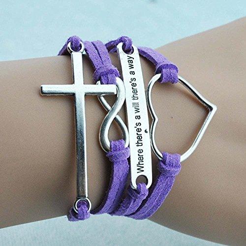 Wild Wind Cross Crucifix Love Heart Fortitude Wrap Bracelet