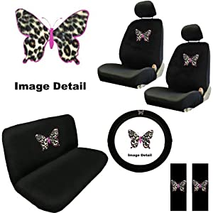 Pink Butterfly Outline w/ Cheetah Tan Animal Print Skin Auto Accessories Interior Combo Kit Gift Set - 11PC from BDK