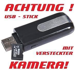 Spionage (DVR, Camcorder, CCTV, Digital) Mini Kamera (mit Deutscher Anleitung und 8GB Speicherkarte) Überwachungskamera Digitalkamera Diktiergerät Bewegungsmelder im USB Stick für Ihre Sicherheit. Speicher bis auf 32 GB erweiterbar! Batterie enthalten.