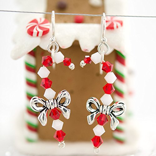 Jewelry Making Earring Kit (Candy Cane Swarovski Crystal Holiday Earring Kit) - Quick Jewelry Making Kits