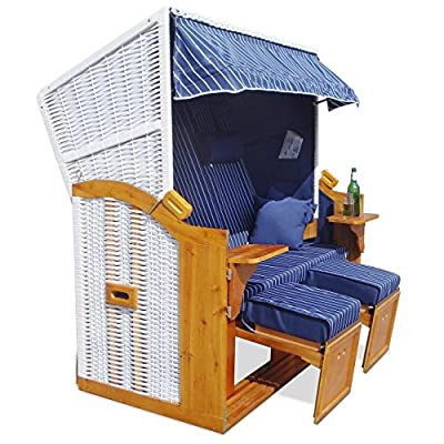 Homelux Strandkorb Deluxe Polyrattan Sylt Ostsee Volllieger inkl. 4x Kissen XXL160cm Blau von Homelux - Gartenmöbel von Du und Dein Garten