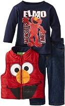 Sesame St Baby-boys Infant 3 Piece Elmo Monster Time Vest and Pant Set, Red, 18 Months