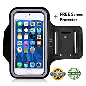 Tribe AB37 Premium Tribe Running Sports Armband Screen Protector for iPhone 6S, 5, 5S, 5C with Key Holder