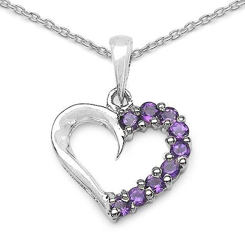 0.45 Carat Genuine Amethyst Heart Shape 925 Sterling Silver Pendant