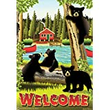 Beary Good Time Bear Family Garden Flag Welcome Lake Cabin Boat Outdoor 12