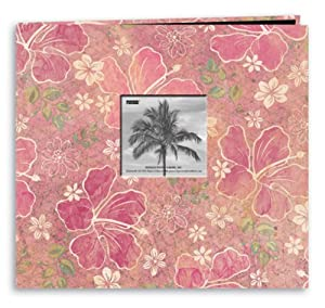 Pioneer 12 Inch by 12 Inch Postbound Frame Front Memory Book, Hibiscus Design