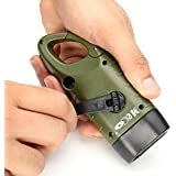 MECO LED Flashlight Hand Cranking & Solar Powered Rechargeable Flashlight Carabiner Dynamo w/ Snap Clip Flashlight Torch Weather Ready for Camping Outdoor Climbing Hiking Emergency