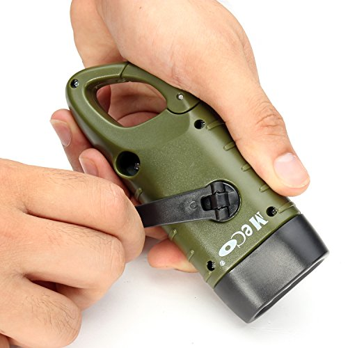 Emergency Flashlight, MECO LED Flashlight Emergency Hand Cranking & Solar Powered Rechargeable Flashlight Carabiner Dynamo w/ Quick Snap Clip Backpa