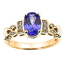 buy Solid 10K Yellow Gold Tanzanite And Diamond Engagement Proposal Ring(Size 6.75)