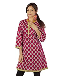 Shopping Rajasthan Exclusive Pure Cotton Handloom Handweaved Block Print Design Kurti Top - B00PHBYUQ2