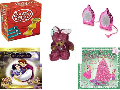 [Girl's Gift Bundle - Ages 6-12 [5 Piece] - Jungle Speed. Game - Bratz Be-Bratz.com Speakers - Teddy Bear Plush In Purple Mouse Costume 12