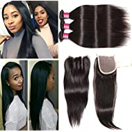 ALI JULIA Brazilian Virgin Straight Hair Weave 3 Bundles with with 1pc 4*4 Lace Closure Three Part 100% Real Human Hair Extensions Natural Color (14 16 18+14 inch three part closure)