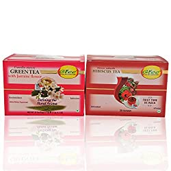 GTEE Green Tea Bags-Jasmine & Hibiscus Tea Bags (25 Tea bags X 2PACKS)