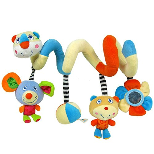 Ebuy Baby Plush Crib Activity Spiral Stroller Bar Toy With Jingle Bell And Mirror front-1002173