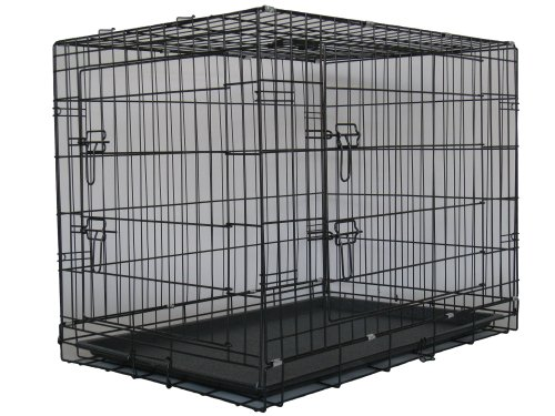 """Two Door Folding Metal Dog Crate Size: Large (30"""" H X 42"""" W X 29"""" D)"""
