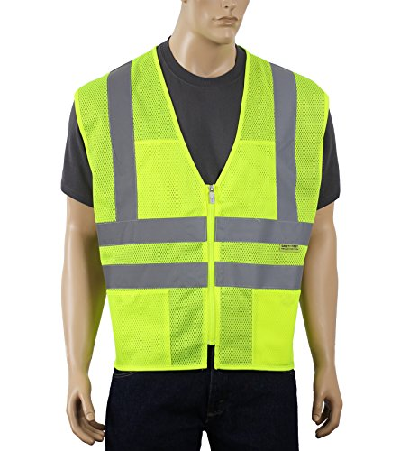 Ansi Class 2 Safety Vest with Pockets and Zipper Closure Mesh High Visibility