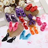 Toy - 10 Pairs Of Mixed Fashion Shoes High Heels Sandals For Barbie Sindy Doll Outfit Dress Toy