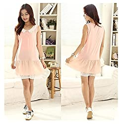 Fashionate Maternity Dress - Maternity Top for Women Peach Chiffon Maternity Dress X-Large