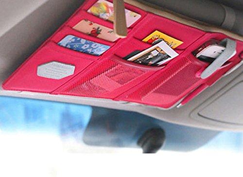 Ylyycc multifunction Auto Car Sun Visor Organizer pouch CD card storage bag holder (wine red)