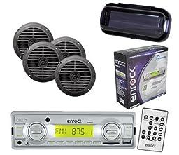 Enrock In Dash Marine Boat MP3 USB SD Stereo Media W/Remote 4 Speakers & Cover