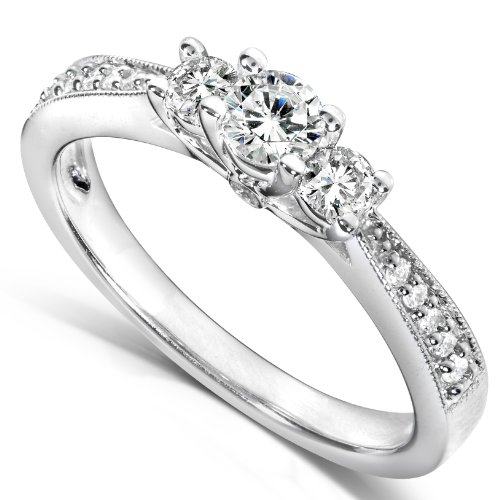 1/3ct TW Three-Stone Round Brilliant Diamond Engagement Ring in 14Kt Gold