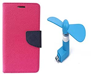 Novo Style Book Style Folio Wallet Case Samsung Galaxy On7 Pink + Smallest Mobile Fan Android Smart Phone