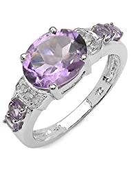2.94CTW Amethyst  Diamond .925 Sterling Silver Ring