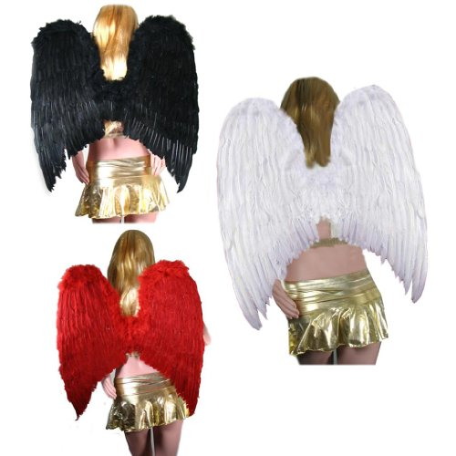 SACAS Extra Large FeatherHalloween Fairy Angel Wing 3 color Black , White or Red