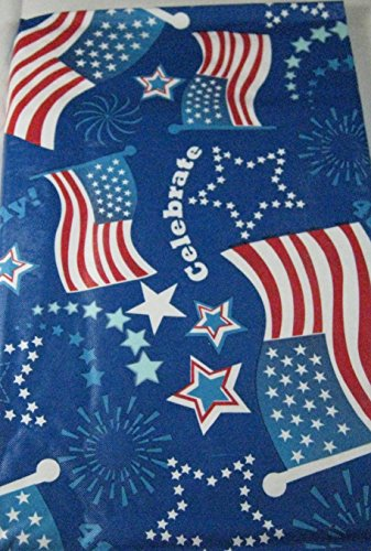 Americana Flannel Back Patriotic Tablecloths By Elrene-American Flags Assorted Sizes (52 x 90 Oblong) (52 x 70 Oblong)