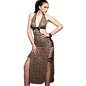 SSQUEEN Women Hot Sexy Leopard Lingerie Set Nightgown Sleepwear with G-String