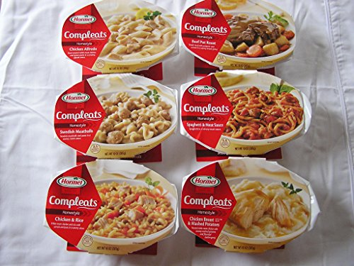 Hormel Compleats 10 Oz Microwavable Meals Variety Bundle - Chicken & Rice, Swedish Meatballs, Beef Pot Roast, Chicken Breast & Mashed Potatoes, Spaghetti & Meat Sauce, Chicken Alfredo (6 Ct Bundle)