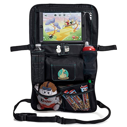 BabySeater Backseat Car Organizer for Kids, Baby's & Toddlers. Tablet iPad / DVD Holder, Wet Wipes Tissue Compartment, Stretchy Storage Pockets. Kick Mat & Seat Back Protector + Gift eBook For Parents (Wet Wipes Toddler compare prices)