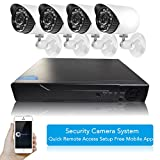 Hi-Tech 4 Channel HD Wi-Fi Home Network Video Surveillance Security System (Analog DVR Kits),4Pcs 720P Megapixel Outdoor Waterproof IP Night Vision Cameras,No HDD