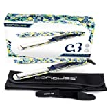 "Corioliss C3 Ultimate Titanium Flat Iron, Bloom, 2 Year Warranty, 3/4"" Floating Plates, Professional Results, Negative Ion, Anti-Static Anti-Frizz, Travel Heat-Resistant Pouch incl."