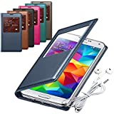 Rasfox® Galaxy S5 Case, Luxury Leather Smart S View Flip Cover Folio Case & Free Geometry Earphone with Mic For Samsung Galaxy S5 S 5 I9600 (Navy)