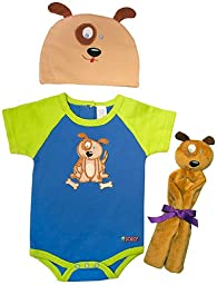 Sozo Unisex Baby Animal 3 Piece Welcome Home Set, Puppy, 0-3 Months