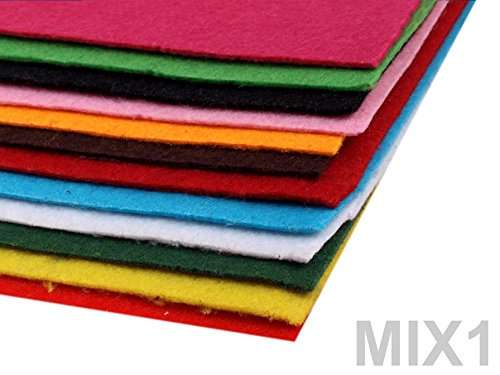 BUSDUGA 486090 Dekorativer Bastelfilz 20x30cm DIN A4 – 290g/qm – Stärke 1,5-2mm – 12 Bögen – verschiedene Farbmixe oder pur Farben wählbar (1MIX) günstig