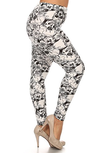 Leggings Depot NEW ARRIVALS Women's Popular BEST Printed Plus Fashion Leggings (Skulls and Flowers A520)