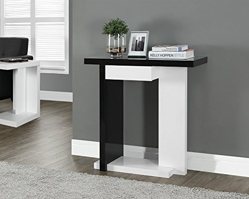 Glossy White/Black Hall Console Accent Sofa Table with Drawer (Accent Tables Hallway compare prices)