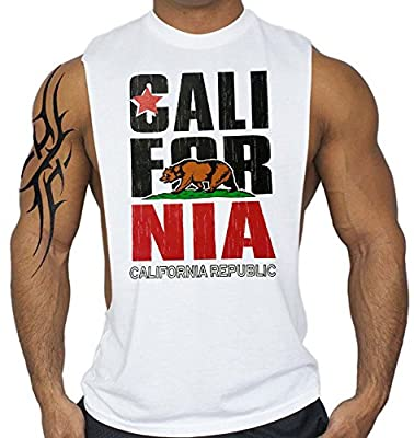California Republic T-Shirt Bodybuilding Tank Top White S-3XL