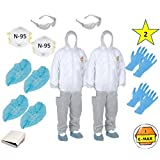 SMS-300 ( L)(Two) C-MAX Premium White Disposable Suits Polypropylene paint Coveralls with Hood + 2 N-95 Masks + 2 Safety Glasses + 4 Gloves size L + 4 Shoe Covers size XL