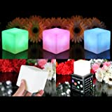PK Green Set of 3 Cube Shaped LED Mood Lights Colour Changing Lamps