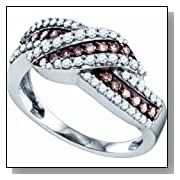 0.75 Carat Chocolate Brown And White Diamond 10K White Gold Womens Ladies Wedding Anniversary Fashio