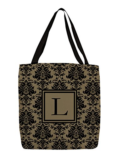 Thumbprintz Shopping Tote Bag, 13-Inch, Monogrammed Letter L, Black And Gold Damask front-210751