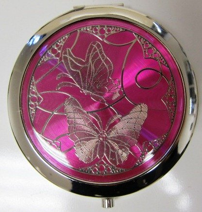Purse Handbag Double Compact Cosmetic Mirror - Two Butterflies - Hot Pink