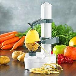 LussoLiv Electric Auto Rotating Potato Peeler Pear Apple Fruit Vegetable Cutter Slicer Kitchen Utensil