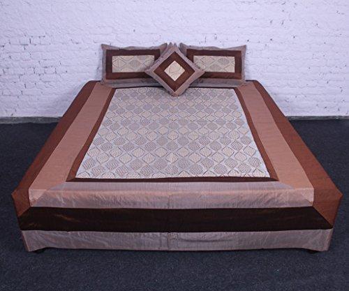 Vintage New Art cotone seta marrone King Size, Copriletto, 5pezzi Set