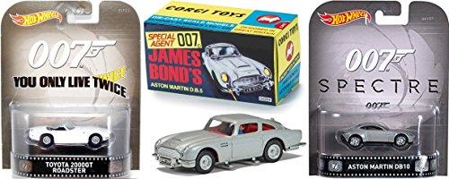 Spectre Hot Wheels Entertainment + Goldfinger James Bond Car Set Aston Martin DB5 Retro Corgi & You Only Live Twice Toyota (Silver Bullet Hot Wheels compare prices)